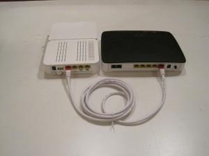 Router kopplad till mediakonverterare